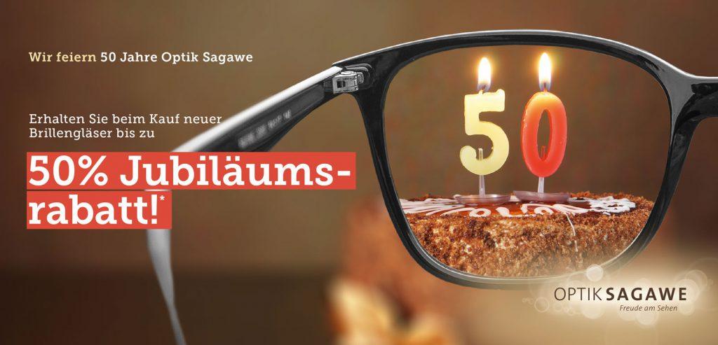 50 Jahre Optik Sagawe - erhalten Sie bis 21.10.17 bis zu 50% Jubiläumsrabatt
