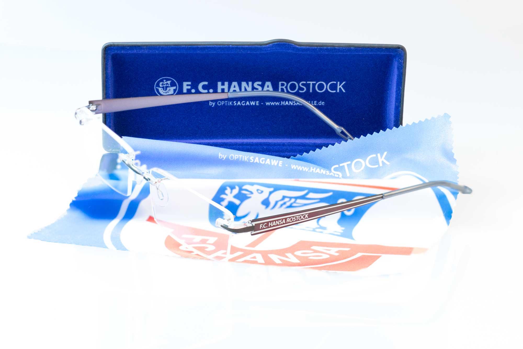Die offizielle F.C. Hansa Rostock Brille - Switch it Garnitur Business von Optik Sagawe im Komplett-Bundle.