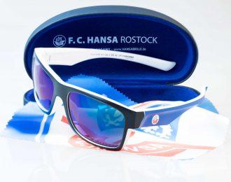 F.C. Hansa Rostock Sonnenbrille – schwarz-blau – Hansa Kombiangebot