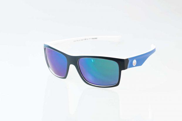 Die offizielle F.C. Hansa Rostock Sonnenbrille - schwarz-weiss-blau von Optik Sagawe.