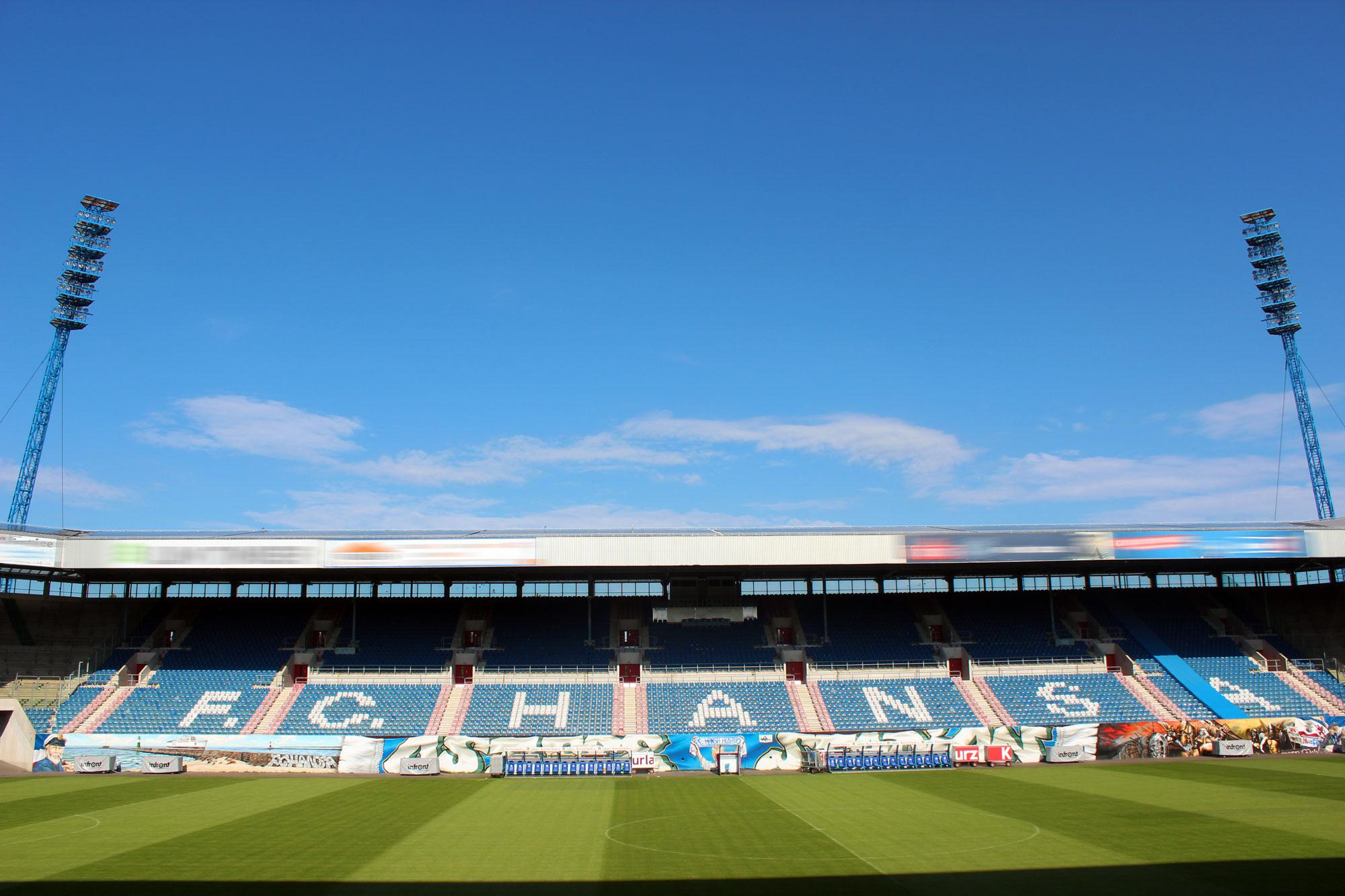 Das Ostssestadion des F.C. Hansa Rostock den Optik Sagawe als Hansaoptiker unterstützt