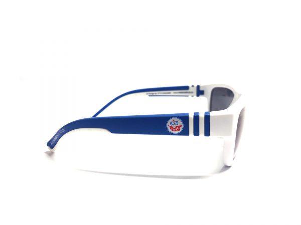 Die offizielle F.C. Hansa Rostock Sonnenbrille - weiss-blau von Optik Sagawe. Für Kids, Kinder und schmale Köpfe.